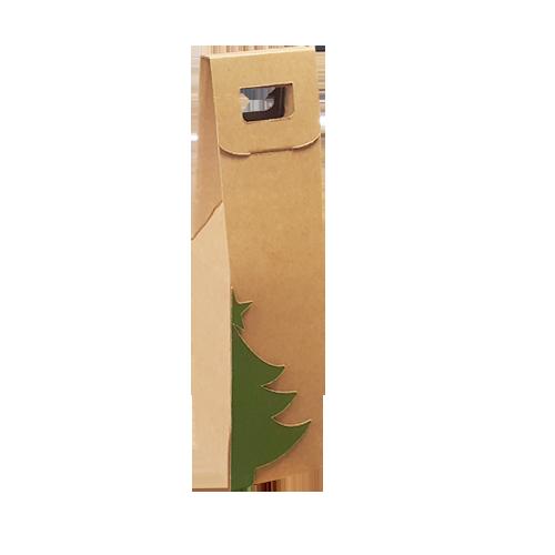 Caixa p/ 1 Garrafa de Vinho Especial Natal 9x9x40 cm